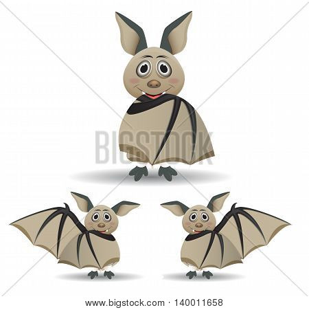 cute bat cartoon character hidding behind wing