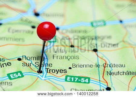 Troyes pinned on a map of France