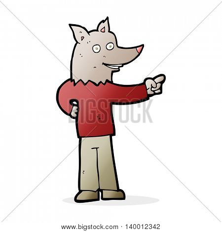 cartoon wolf man pointing