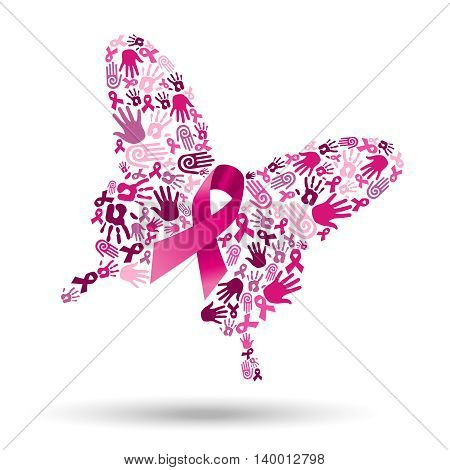 Pink butterfly silhouette made of hand shapes with ribbon for breast cancer awareness social collaboration concept. EPS10 vector.
