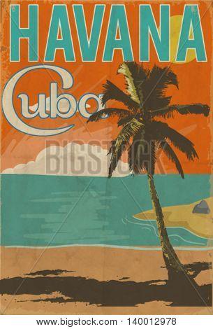 cuba havana poster illustration
