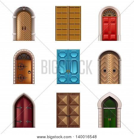 Old doors icons detailed photo realistic vector set