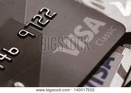 Samara, Russia-july 25.2016: Visa Classic Credit Card Close-up