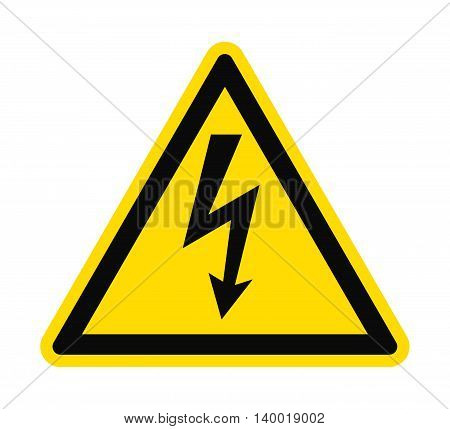 Flat icon danger high voltage. Black arrow in yellow triangle isolated on white background. Vector illustration.