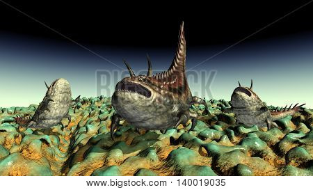 Computer generated 3D illustration with extraterrestrial life in a distant world