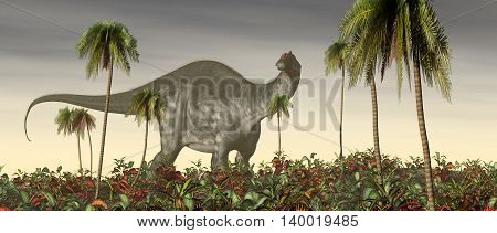 Computer generated 3D illustration with the dinosaur Brontosaurus