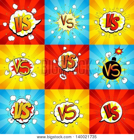 Set of versus letters fight backdrops in pop art style. Vector illustration. Decorative collection of backgrounds with bomb explosive.