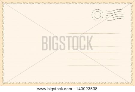 Blank postcard with blank postmark in vintage style.