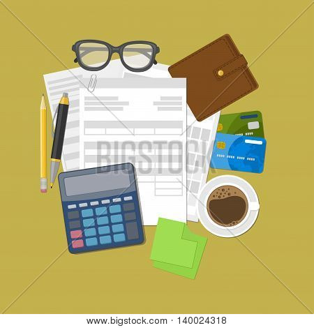 Concept of tax payment and invoice. Wallet, credit cards, calculator, pen, pencil, coffee, glasses, stickers for notes. Vector illustration. poster