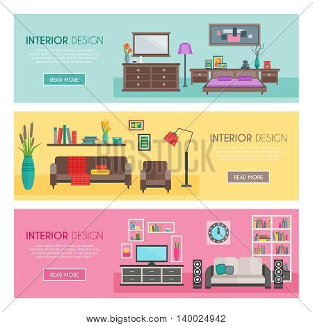 Three horizontal flat furniture banner set interior design descriptions and button with link vector illustration