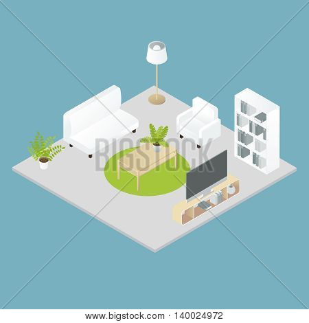 Isometric home interior design with soft furniture bookcase plant on grey floor on blue background vector illustration