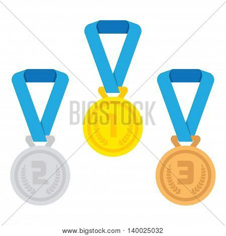 Gold Silver Bronze medal icon. Vector set. Isolated medal on white background