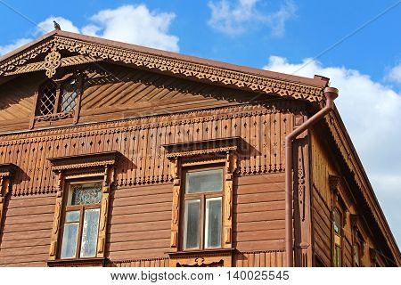 House is in Russian style of the second half of the 19th century with a wooden facade, Andriyivskyy Descent 19, Kyiv, Ukraine