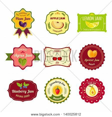 Natural jam colorful labels for homemade products of different fruit with laurel leaves stars isolated vector illustration