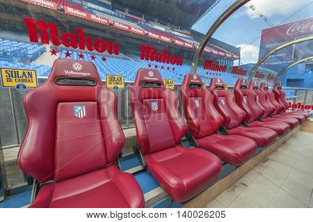 MADRID,SPAIN-MARCH 2016: Team bench at Vicente Calderon stadium -  the official playground of FC Atletico