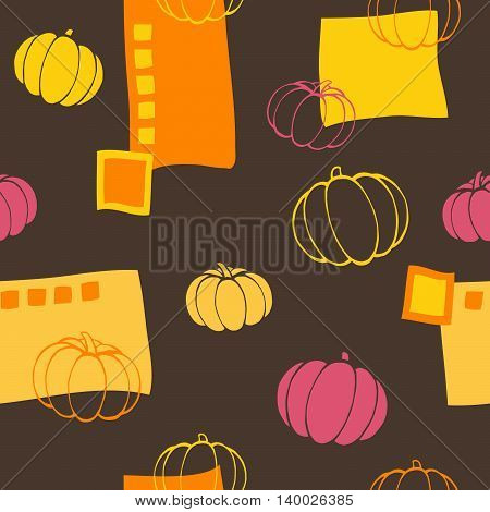 Pumpkin seamless pattern graphic art brown yellow pink color illustration vector