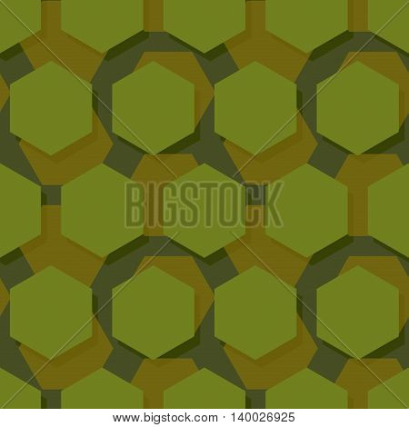 Military Polygonal Seamless Pattern. Army Abstract Hexagon Texture. Protective Ornament For Soldiers