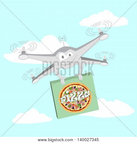 Drone with a video camera carrying pizza. Series cartoon Drones
