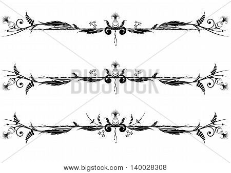 set of vector floral vignette in black and white colors