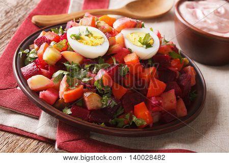Finnish Cuisine: Rosolli Salad And Cream Sauce Close-up. Horizontal