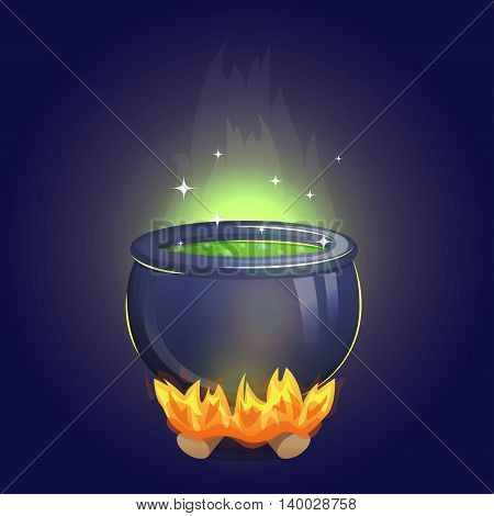 Magic witch alchemy cauldron on fire with poisonous boiling potion inside. Brew a magic potion illustration for holiday and event decoration.