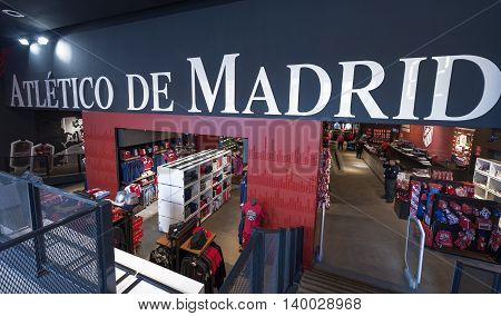 Madrid,Spain - March 2016: In the official store of FC Atletico