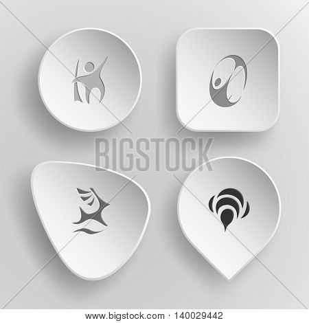 4 images: abstract little man, skydiver, deer, bee. Abstract set. White concave buttons on gray background. Vector icons.