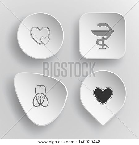 4 images: careful heart, pharma symbol, stethoscope, heart. Medical set. White concave buttons on gray background. Vector icons.
