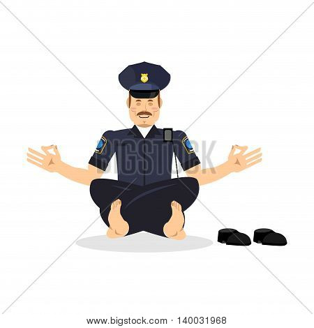 Policeman Meditating. Cop Yoga. Police Officer Relaxes. Status Of Nirvana And Enlightenment. Lotus P