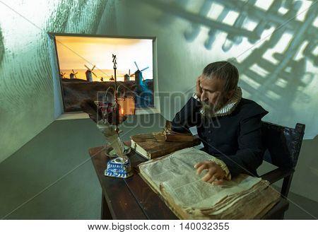 MADRID,SPAIN-MARCH 2016: Miguel de Cervantes wax figure in Madame Tussauds  Museum