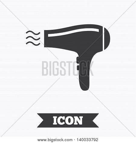 Hairdryer sign icon. Hair drying symbol. Blowing hot air. Turn on. Graphic design element. Flat hairdryer symbol on white background. Vector