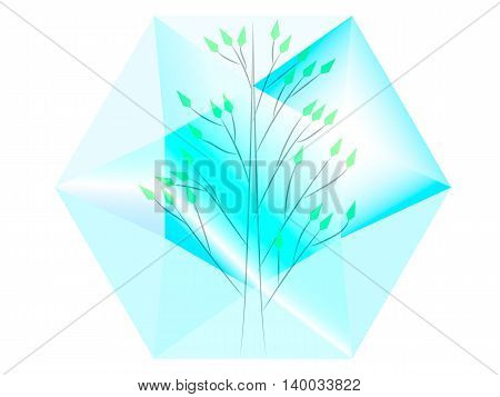 green tree located inside the transparent diamond