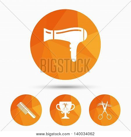 Hairdresser icons. Scissors cut hair symbol. Comb hair with hairdryer symbol. Barbershop winner award cup. Triangular low poly buttons with shadow. Vector