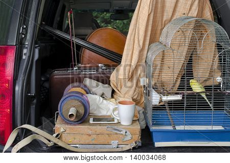 A car boot with pets and personal belongings open for check or customs clearance Outdoor filtered shot