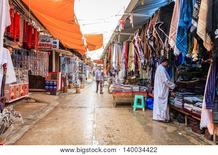 Salalah, Oman - July 1, 2016: Friday market scene in Salalah, Oman