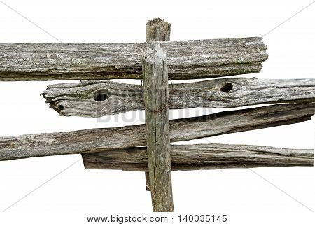 Old wooden fence in detail on a white background