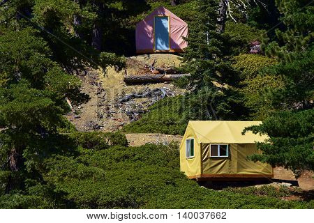 Tent Cabins taken at a rural pine forest in Mt Baldy, CA