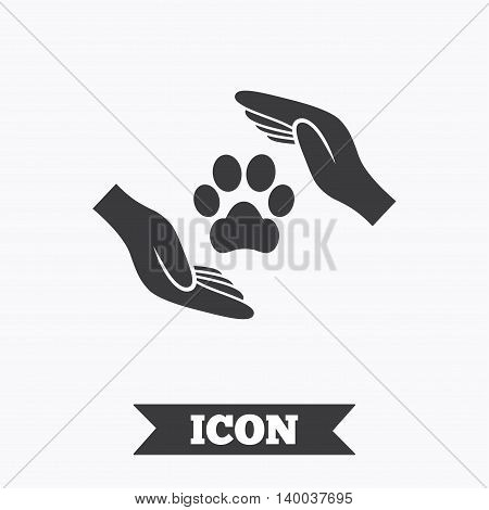 Protection of animals sign icon. Hands protect paw symbol. Shelter for dogs. Animals insurance. Graphic design element. Flat pets insurance symbol on white background. Vector