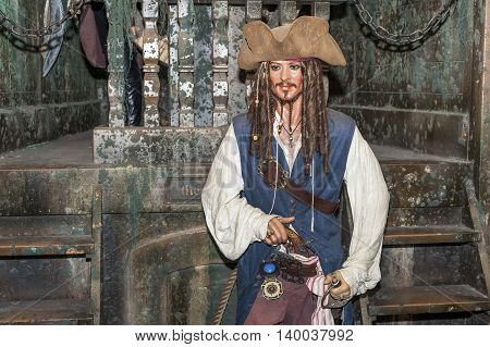 MADRID,SPAIN-MARCH 2016: Johny Depp wax figure in  Madame Tussauds Museum
