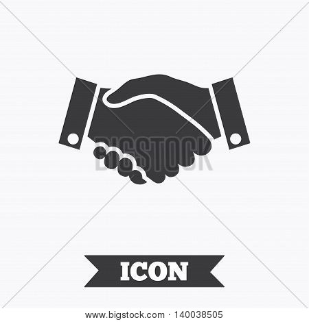 Handshake sign icon. Successful business symbol. Graphic design element. Flat handshake symbol on white background. Vector