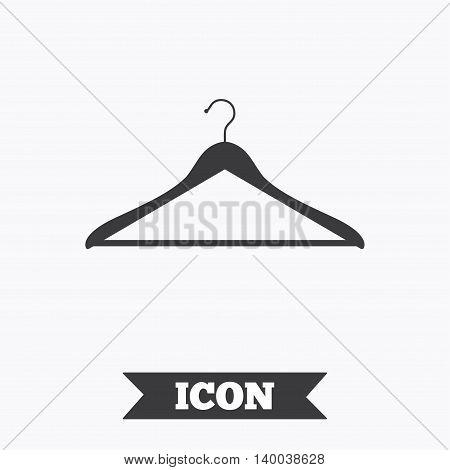 Hanger sign icon. Cloakroom symbol. Graphic design element. Flat hanger symbol on white background. Vector