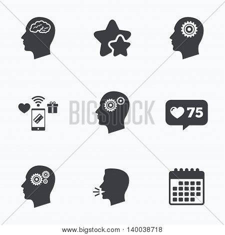 Head with brain icon. Male human think symbols. Cogwheel gears signs. Flat talking head, calendar icons. Stars, like counter icons. Vector