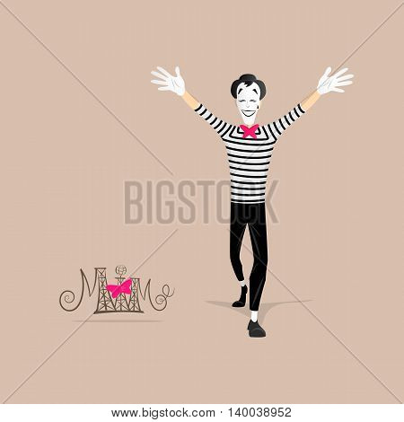 A Mime performing a pantomime called open arms