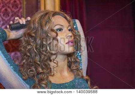 MADRID,SPAIN-MARCH 2016: Shakira wax figure in  Madame Tussauds Museum