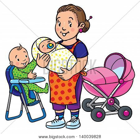 Children vector illustration of funny smiling woman, mother or nanny with a baby and another one on the highchair near the stroller. Profession ABC series.