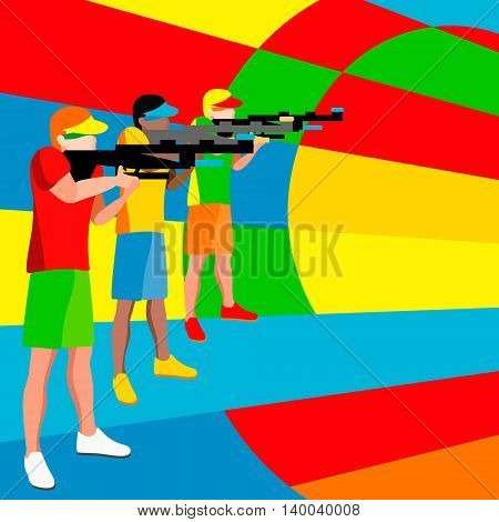 Shooting Player Games. 3D Isometric Shooter Athlete. Sporting Championship International Shooting Competition. Sport Infographic Shooting Vector Illustration