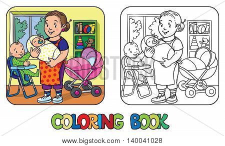 Coloring book of funny woman, nanny with a baby and another one on the highchair near the stroller. Profession ABC series. Children vector illustration.