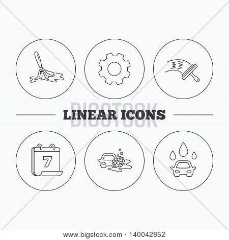 Car wash icons. Automatic cleaning station linear signs. Washing windows, wet cleaning and foam bucket flat line icons. Flat cogwheel and calendar symbols. Linear icons in circle buttons. Vector