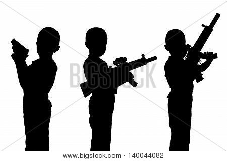 Set of black silhouettes. Boy child with a toy gun isolated on a white background. Monochrome image.
