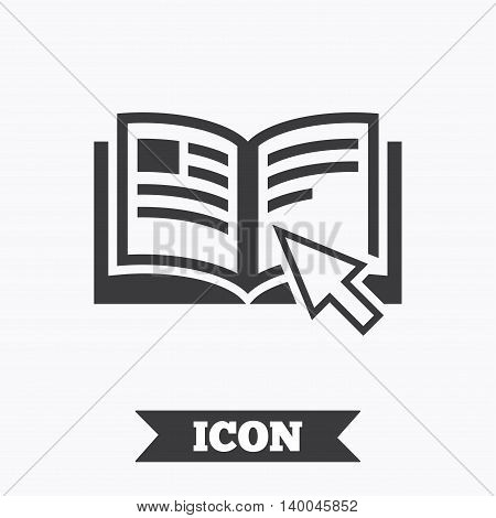 Instruction sign icon. Manual book symbol. Read before use. Graphic design element. Flat instructions symbol on white background. Vector